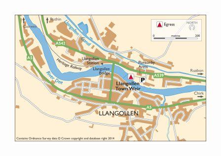 Map Llangollen Town Weir